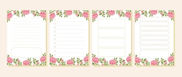 빈티지 장미꽃 메모, 메모장, 할 일 목록, 데일리 플래너 컬렉션