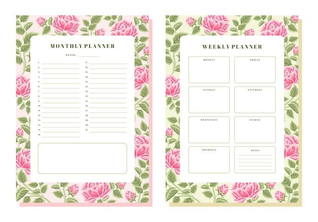 Шаблон ежемесячного и еженедельного планировщика vintage rose с цветочным рисунком
