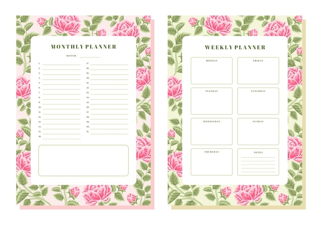 Vintage rose floral monthly and weekly planner template
