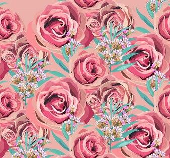 Vintage rose floral pattern background
