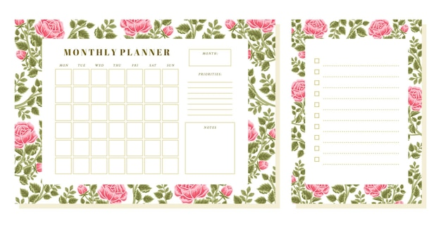 Vintage rose flower monthly planner and memo template set