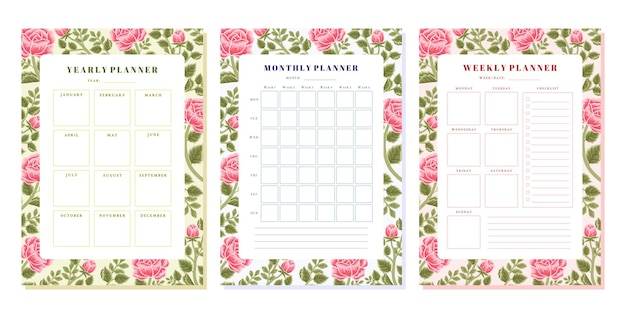 Vintage rose flower weekly monthly yearly planner template set
