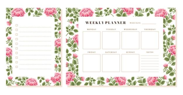 Vintage rose flower weekly planner and memo template set