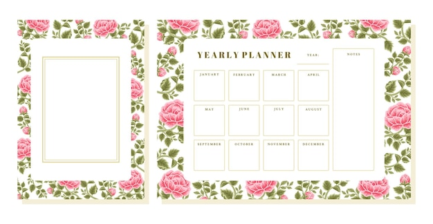 Vintage rose flower yearly planner and memo template set