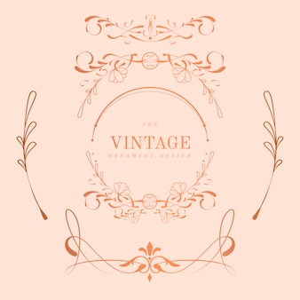 Vintage rose gold art nouveau badge vector set