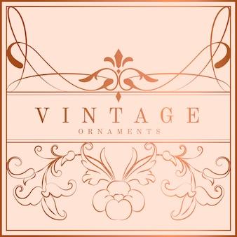 Vintage rose gold art nouveau badge vector