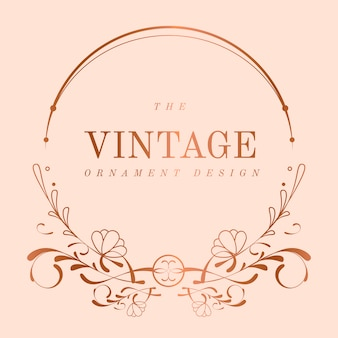Vintage rose gold art nouveau badge vector