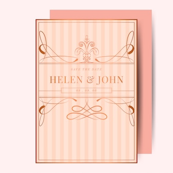 Vintage rose gold art nouveau wedding invitation mockup vector
