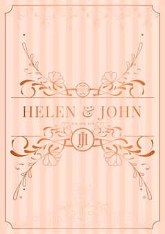 Vintage rose gold art nouveau wedding invitation