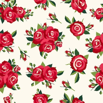 ヴィンテージのバラのパターン、愛のデザインのレトロなスタイルの背景