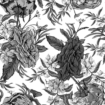 Vintage roses and wildflowers seamless pattern