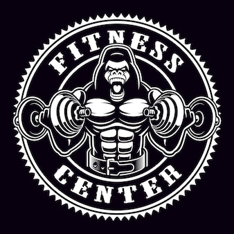 Vintage round badge of a gorilla bodybuilder with dumbbells. emblem for gym theme. text is on the separate group.