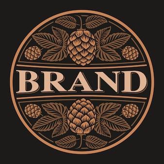 Vintage round beer label, design of bierdeckel with a hop on the dark
