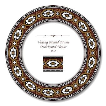 茶色の楕円形の丸い花のヴィンテージラウンドフレーム