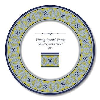 Винтаж круглая рамка спирального креста цветка
