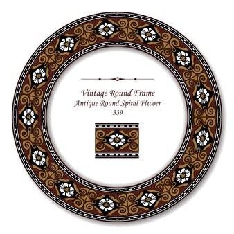 Vintage round retro frame of antique round spiral flwoer