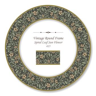 Vintage round retro frame of botanic garden spiral leaf sun flower