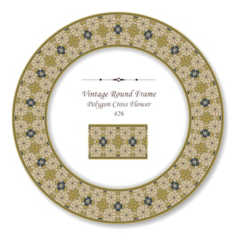 Vintage round retro frame of brown polygon cross flower