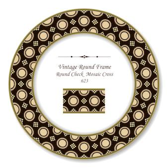 Винтажная круглая ретро рамка проверить квадратный мозаичный крест, античный стиль