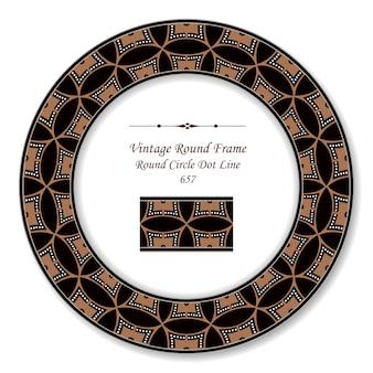 Винтаж круглая ретро рамка круг кривая крест пунктирная линия, античный стиль