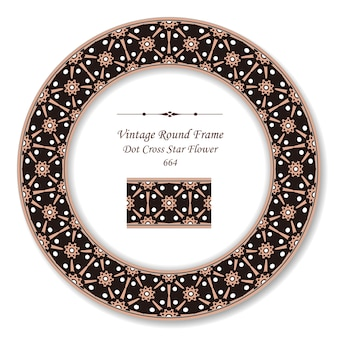 Винтажная круглая ретро рамка с крестиком и звездным цветком, античный стиль