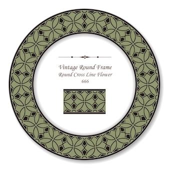 Винтаж круглая ретро рамка крест линии цветок, античный стиль