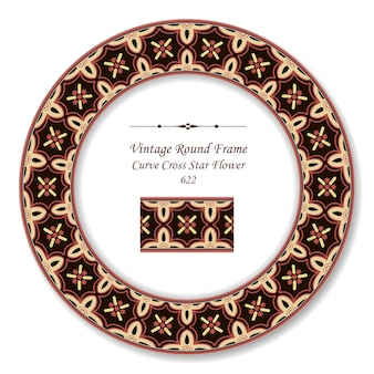 Винтажная круглая ретро рамка кривая крест звездный цветок, античный стиль