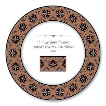 Винтажная круглая ретро рамка кривая пунктирная линия цветок, античный стиль