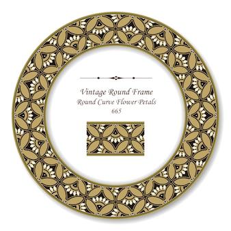 Винтажная круглая ретро рамка изогнутые лепестки цветов, античный стиль