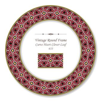 Винтаж круглая ретро рамка кривая сердце крест клеверный лист, античный стиль