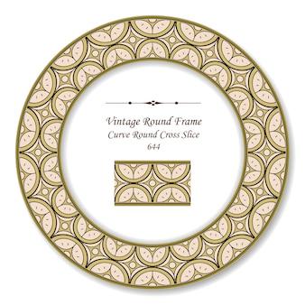 Винтажная круглая ретро рамка кривая круглый крест, античный стиль