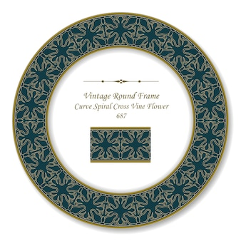 빈티지 라운드 복고풍 프레임 곡선 나선형 십자가 포도 나무 꽃, 골동품 스타일