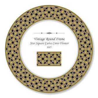 Винтажная круглая ретро рамка кривая звезда квадратный крест цветок, античный стиль