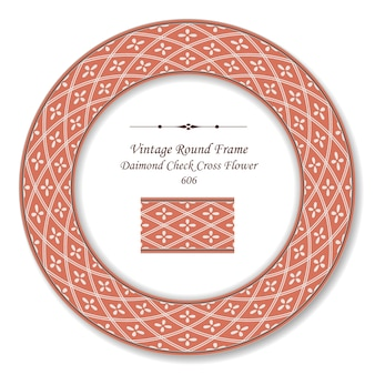 Винтажная круглая ретро рамка ромбовидная клетка с крестиком, античный стиль