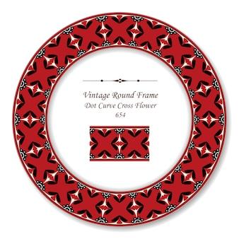 Винтажная круглая ретро рамка точка кривая крест цветок, античный стиль
