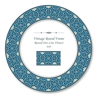 Винтажная круглая ретро рамка пунктирная линия цветок, античный стиль