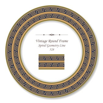 Vintage round retro frame golden spiral geometry cross line
