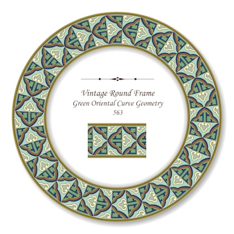 Vintage round retro frame green oriental curve gold line geometry