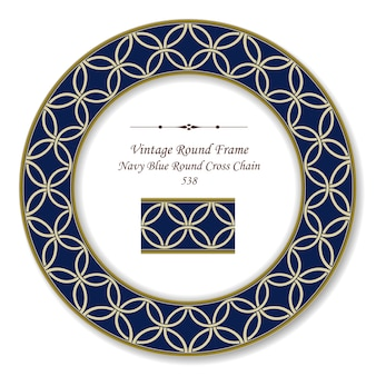 Vintage round retro frame navy blue round cross chain