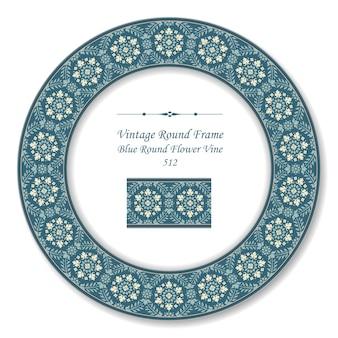 블루 라운드 꽃 덩굴의 빈티지 라운드 복고 프레임