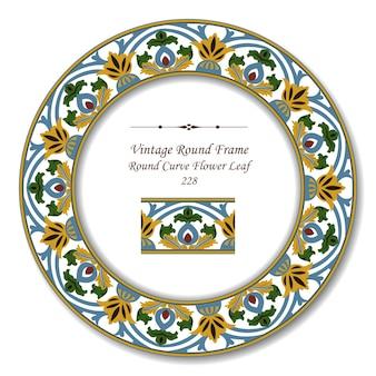 Винтажная круглая ретро рамка ботанического сада с круглой кривой цветочного листа
