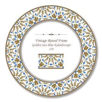 Винтаж круглая ретро рамка золотого солнца синий калейдоскоп