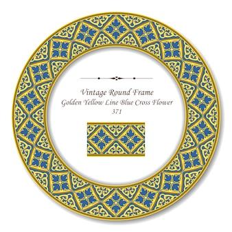 Винтаж круглая ретро рамка из золотой желтой линии синий крест цветок