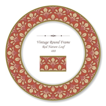 Винтаж круглая ретро рамка из красного листа природы