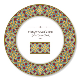 Винтаж круглая ретро рамка спирального креста