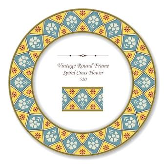 Винтаж круглая ретро рамка спирального креста цветка