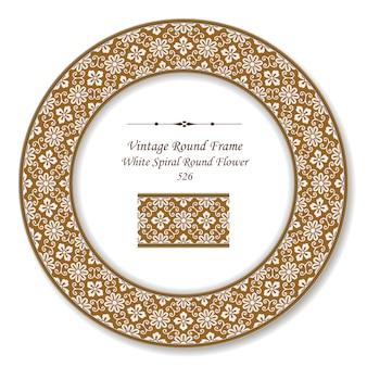 흰색 나선형 라운드 꽃의 빈티지 라운드 복고 프레임
