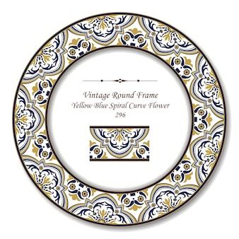 Винтаж круглая ретро рамка желтого синего спирального цветка кривой