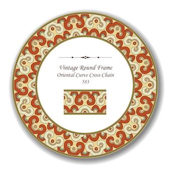 Vintage round retro frame oriental curve cross chain