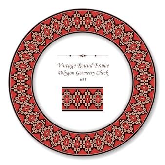 Винтажная круглая ретро рамка, полигональная геометрия, проверка креста, античный стиль